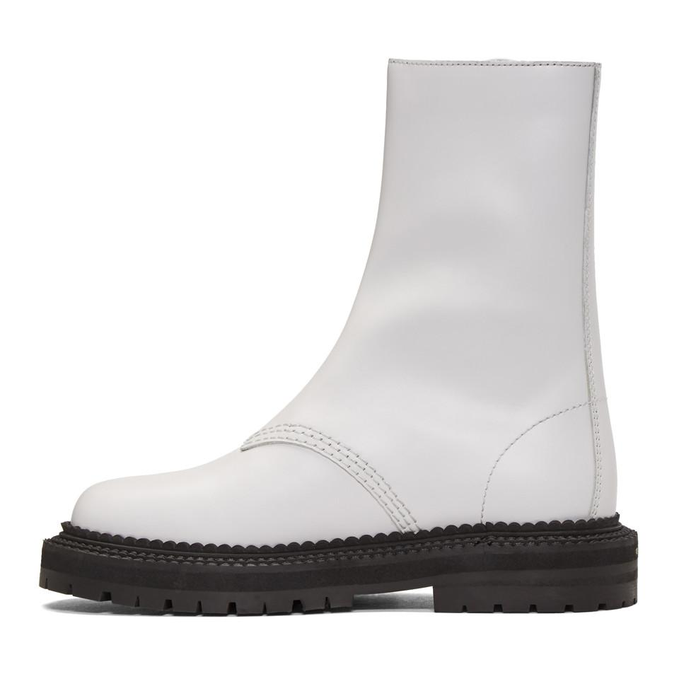 Burberry White Florain Boots