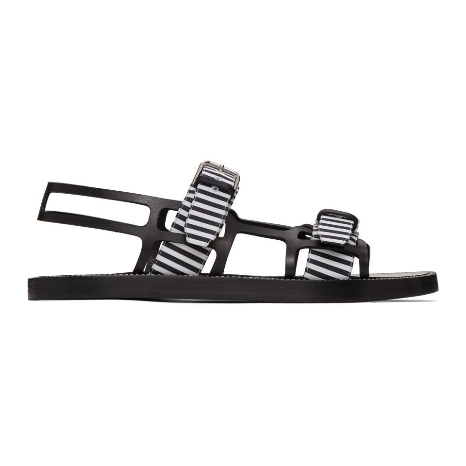 White Check Webb Sandals for Men