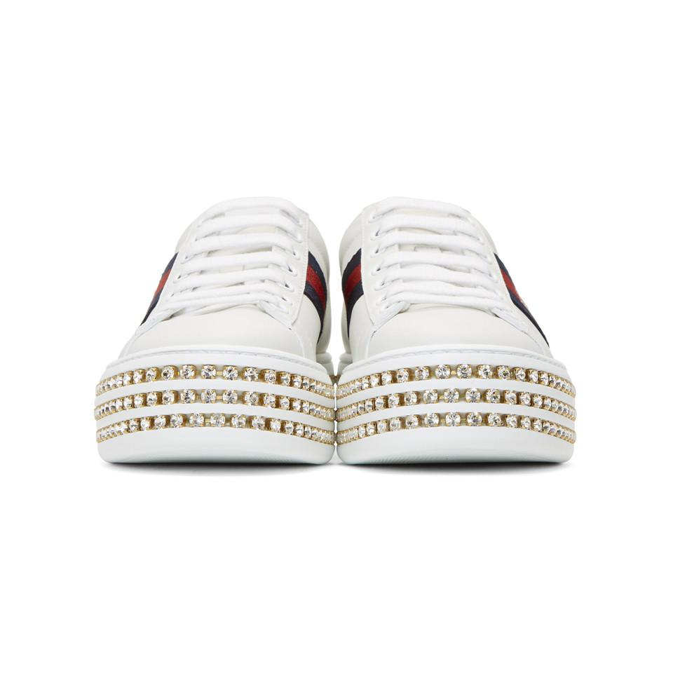 a849ea579e1 Gucci - White Ace Sneakers With Crystals - Lyst. View fullscreen