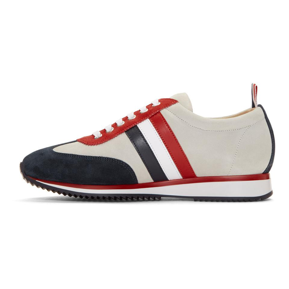 Thom Browne Off-White Suede Tricolor Stripe Sneakers vC6VZ