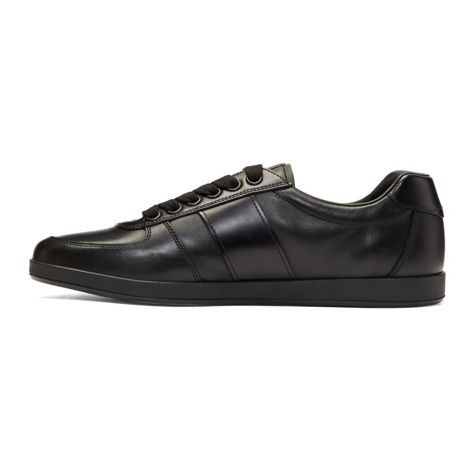 Black Leather Slim Sneakers Prada yj9dPY