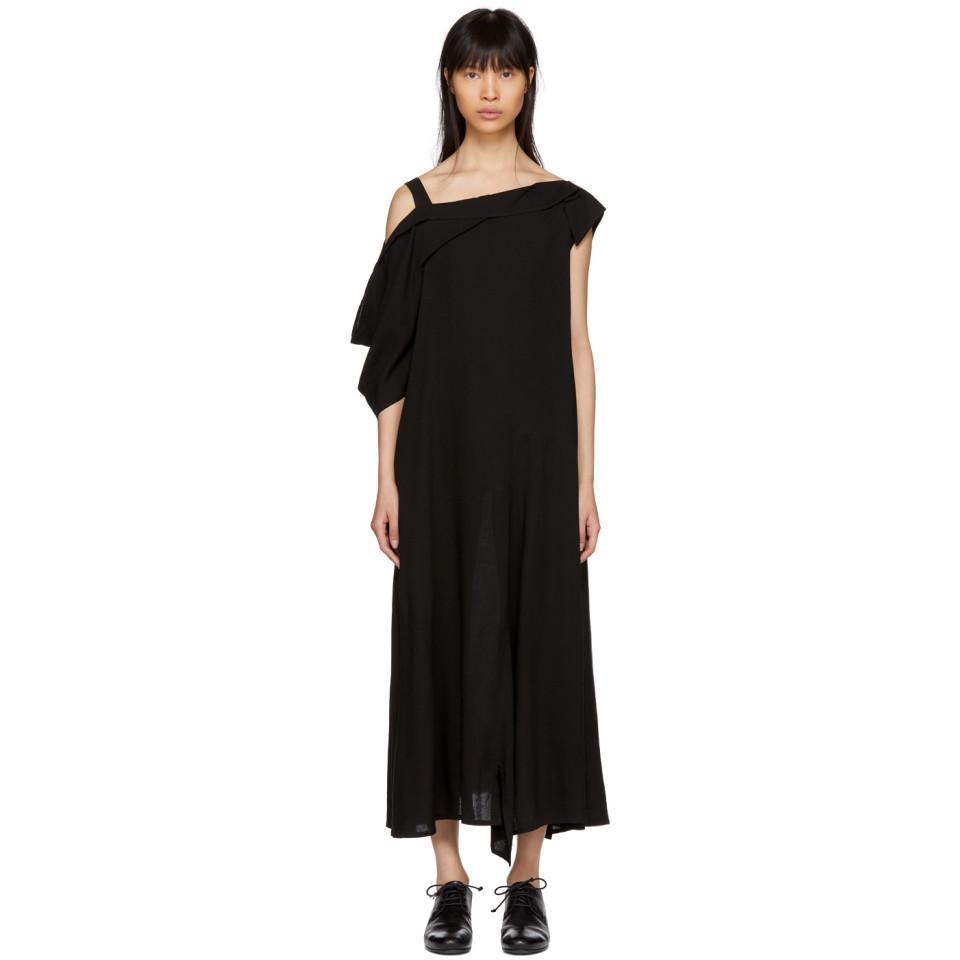 Asymétrique Noir Robe Sangle Drapée Yohji Yamamoto 0dAn37Z8
