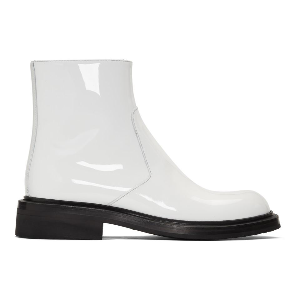 62a101c06a0 Prada - White Patent Zip Boots for Men - Lyst