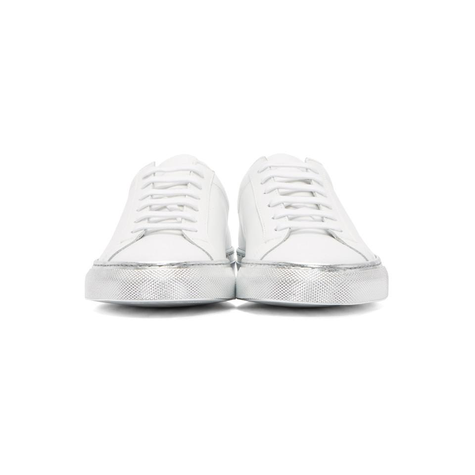 Common Projects Leather White & Silver Achilles Low Color Block Sole Sneakers