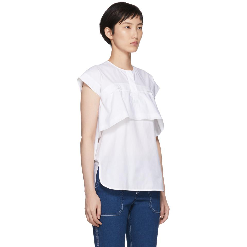 White Poplin Double Layered Blouse Carven Pay With Paypal Clearance Cheap Price Buy Cheap For Sale Clearance Best Sale imVsiJda