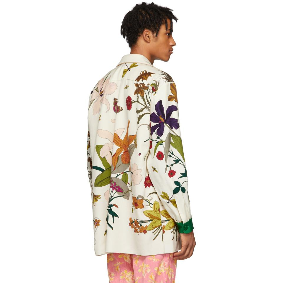 50f214cd8be Gucci - Green White New York Yankees Edition Floral Gothic Print Shirt for  Men - Lyst. View fullscreen