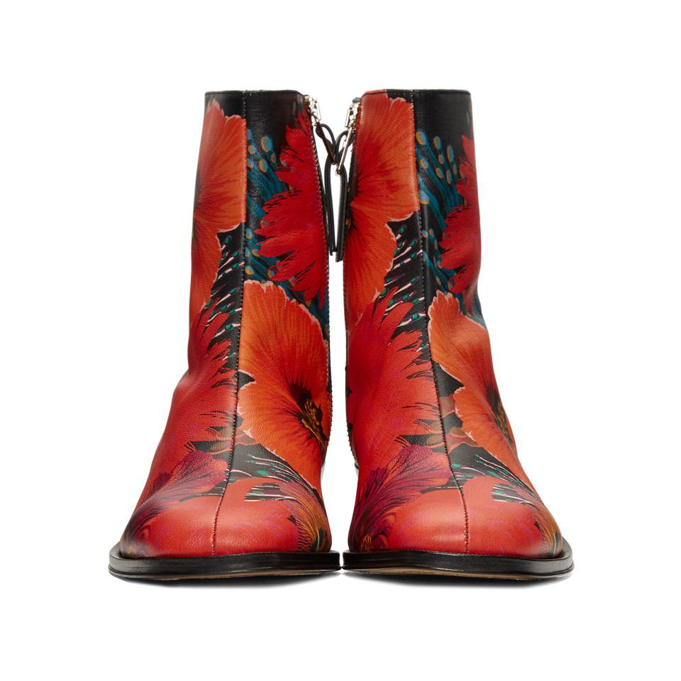 Paul Smith Leather Black Mapleton Floral Boots in Red