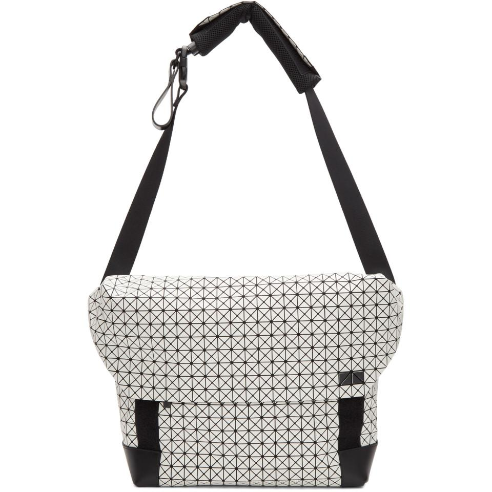 21350436fa Lyst - Bao Bao Issey Miyake White And Black Sling Messenger Bag in ...