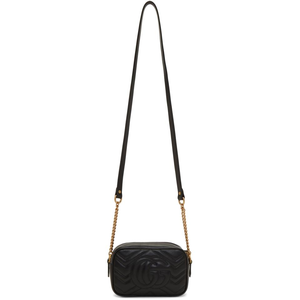 Gucci Leather Black Mini Gg Marmont 2 0 Camera Bag Lyst