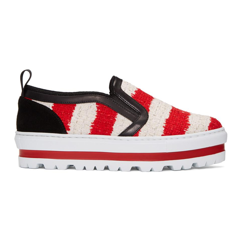 Lyst - Msgm Tricolor Platform Sneakers in Red 841dcfbb9