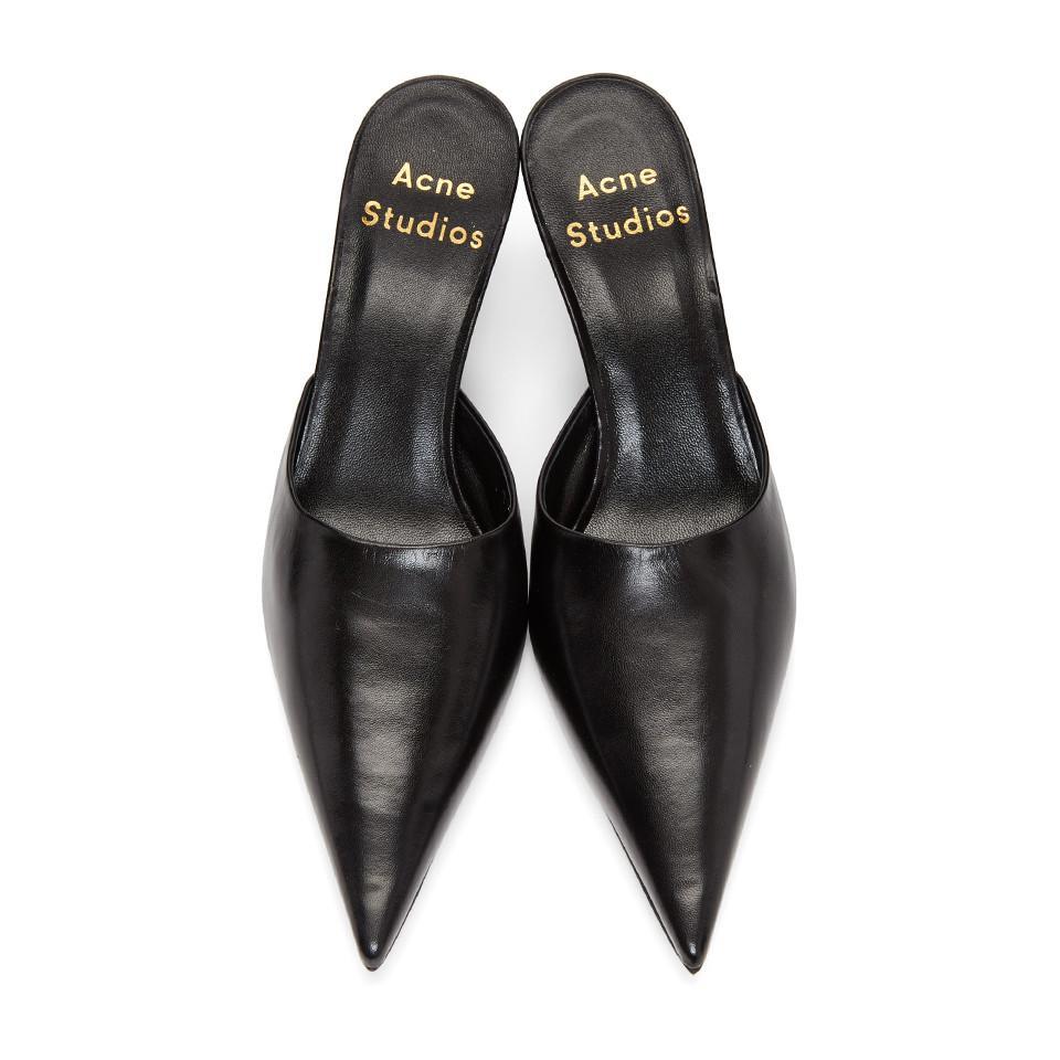 2618e2f2c78 Acne Black Offset Kitten Heel Mules