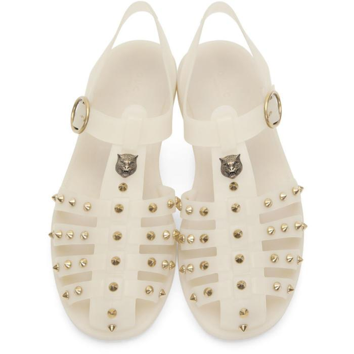 Gucci Off White Studded Rubber Sandals For Men Lyst