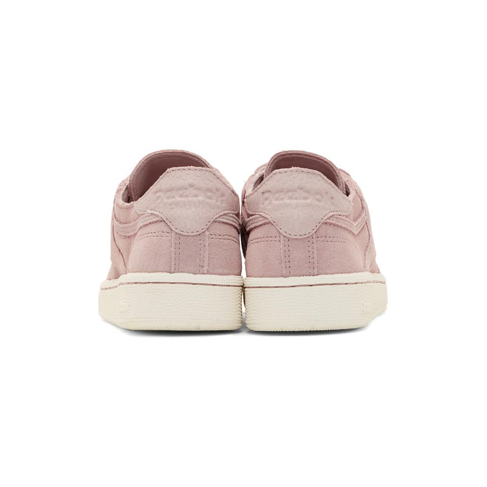 Reebok Suede Pink & White Club C 85 Sneakers