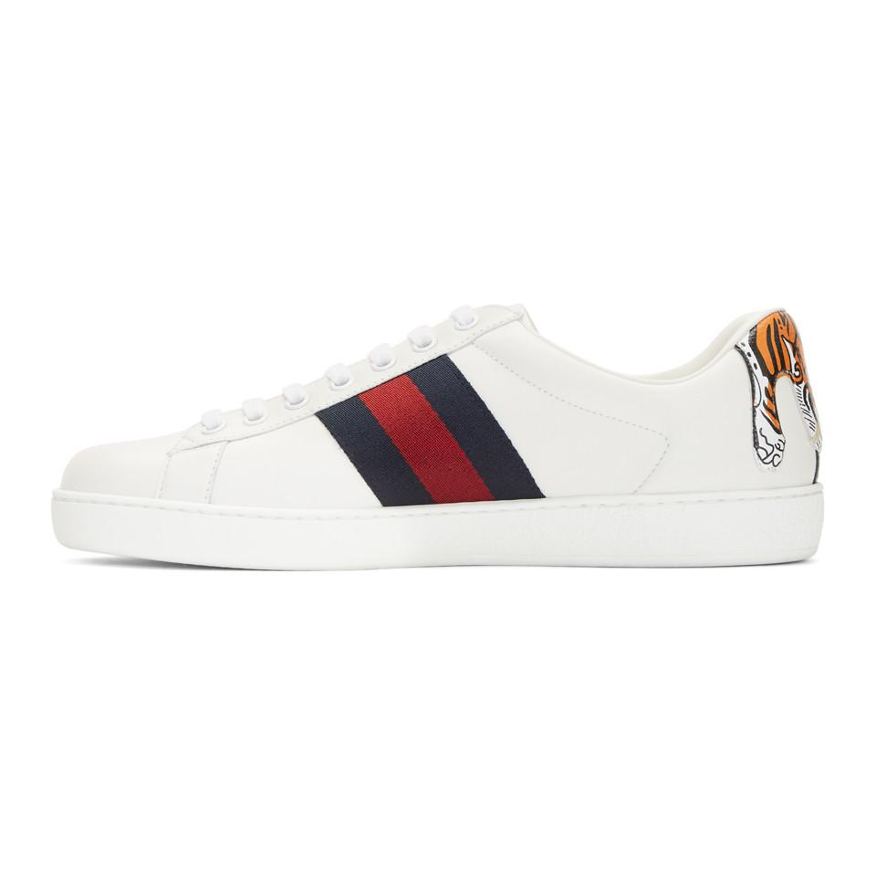 Gucci Leather White Tiger Ace Sneakers