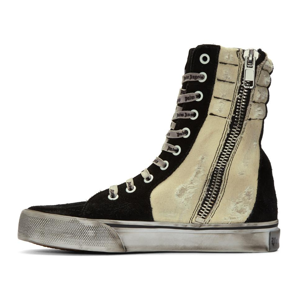 Black and Off-White Distressed Suede Super High-Top Sneakers Palm Angels Cheap Sale Low Price Free Shipping Cheap Online Discount Official Best Sale Online Lowest Price ztnDsgx2