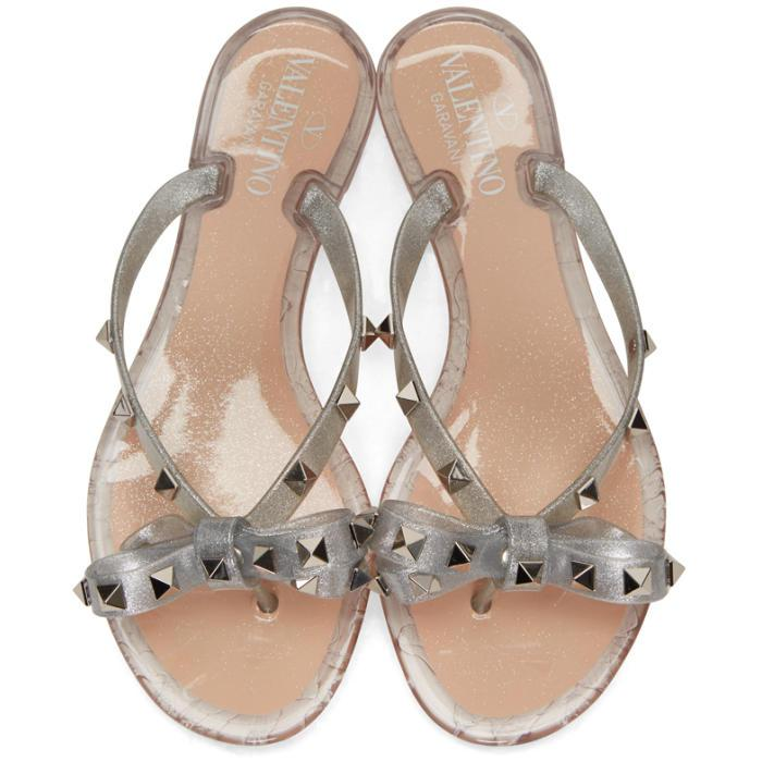 Valentino Rubber Silver Rockstud Jelly Bow Sandals In