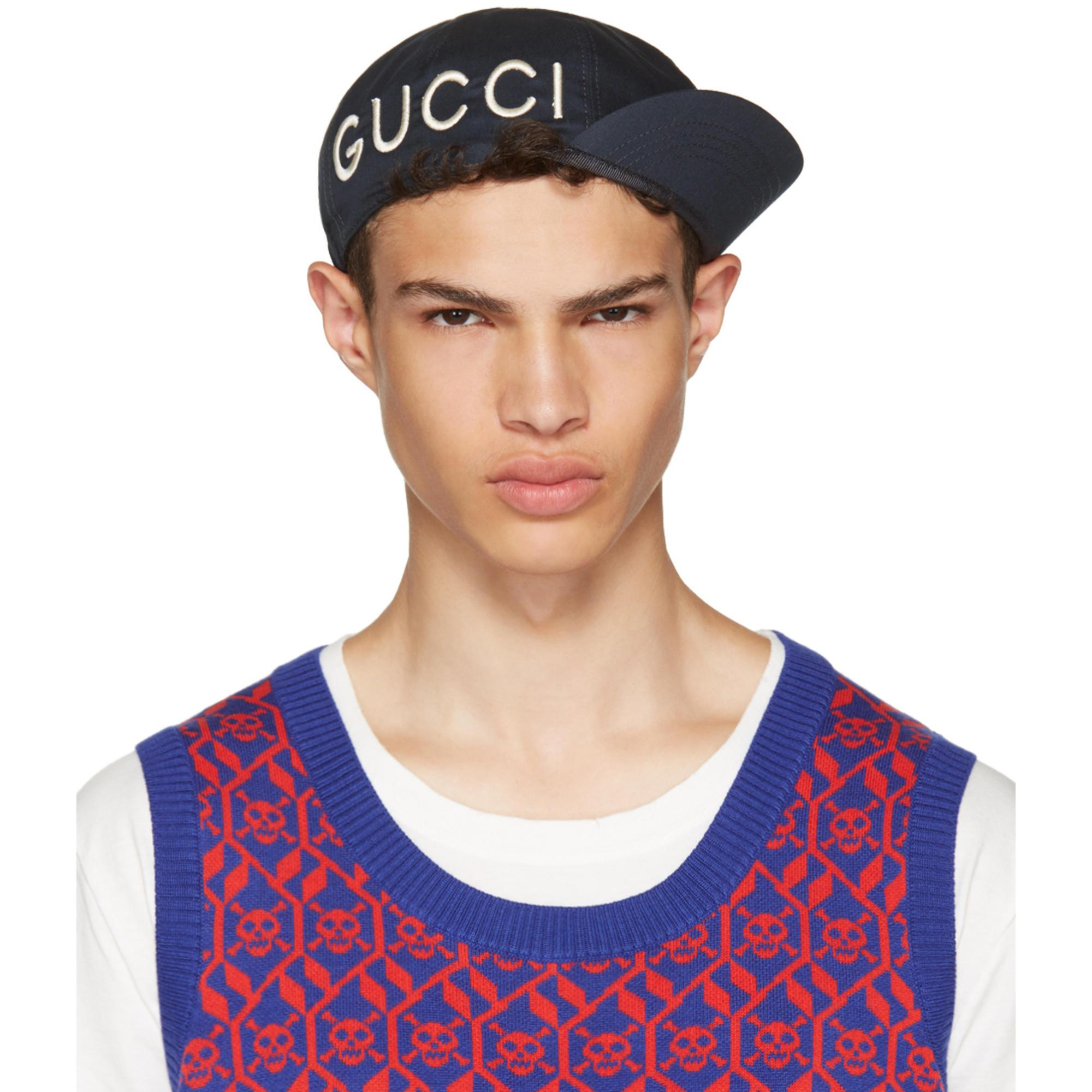 Lyst - Gucci Navy   Loved  Cycle Cap in Blue for Men 6deab46e113