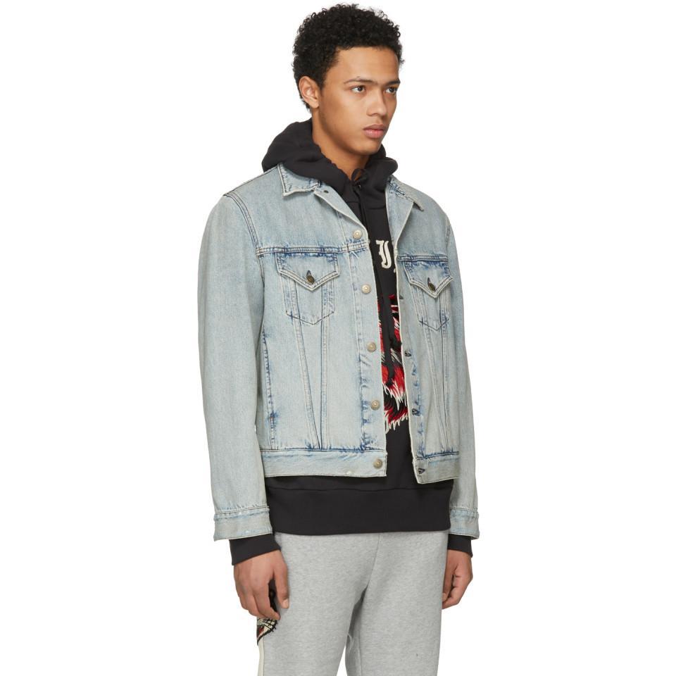 0ba6356b059 Lyst - Gucci Blue Guccy Teddy Bear Denim Jacket in Blue for Men