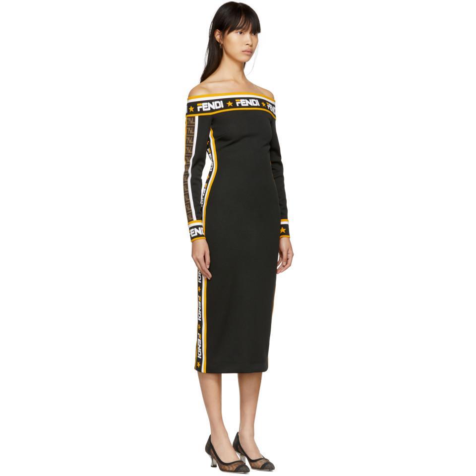 b1b07a337a717 Fendi - Black Mania Off-the-shoulder Dress - Lyst. View fullscreen