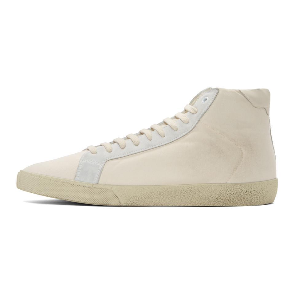 Saint Laurent Off- Damaged Canvas Court Classic SL/06 High-Top Sneakers gT2HBgLCRD