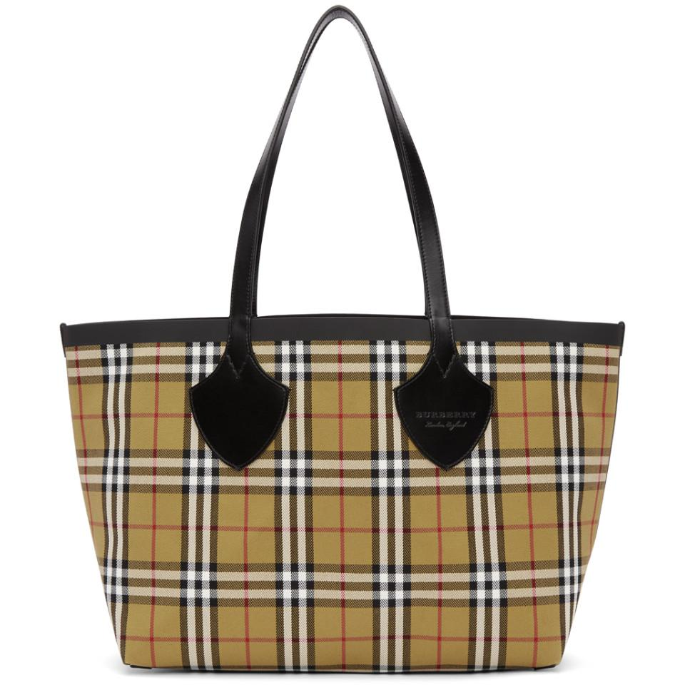 Reversible Yellow and Red Medium Check Tote Burberry KLemBA