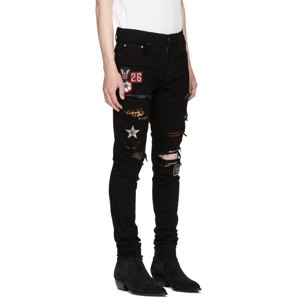 factory authentic pick up shoes for cheap Black Art Patch Painted Jeans