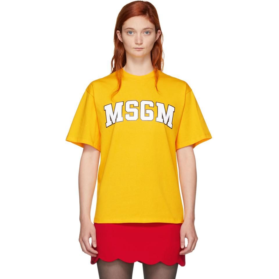 Yellow College Logo T-Shirt Msgm Cheap Sale Explore Lowest Price yL6QSE