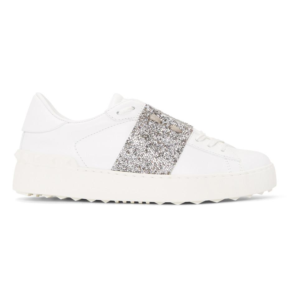 Valentino White & Silver Valentino Garavani Crystal Open Sneakers DxUim6SquN