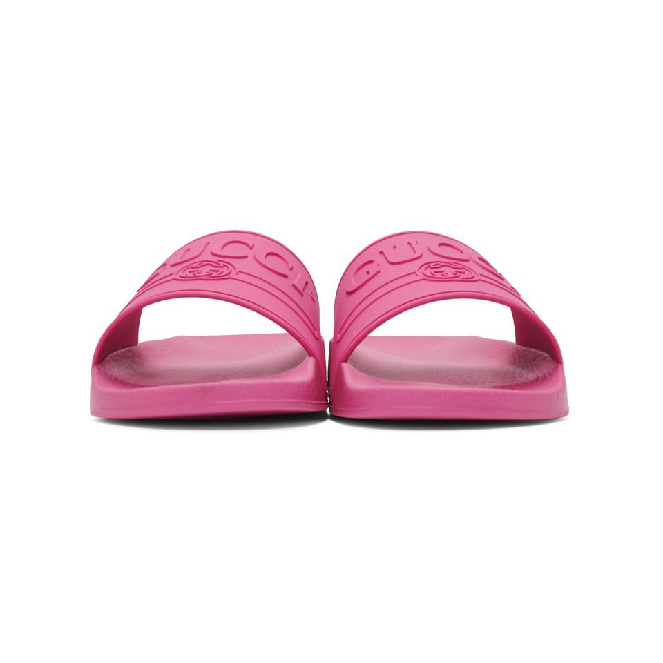 6f7bcc70b49d3d Gucci - Pink Sliders for Men - Lyst. View fullscreen
