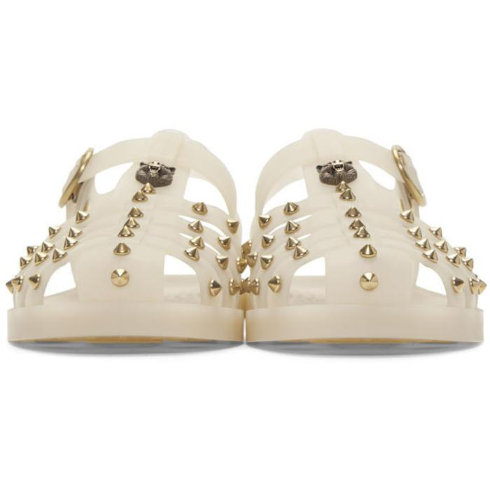 432edea1255d1 Lyst - Gucci Off-white Studded Rubber Sandals in White for Men