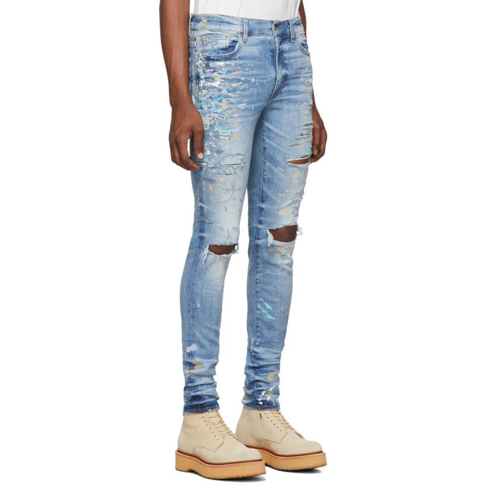 Amiri Denim Indigo Paint Splatter Jeans in Blue for Men   Lyst