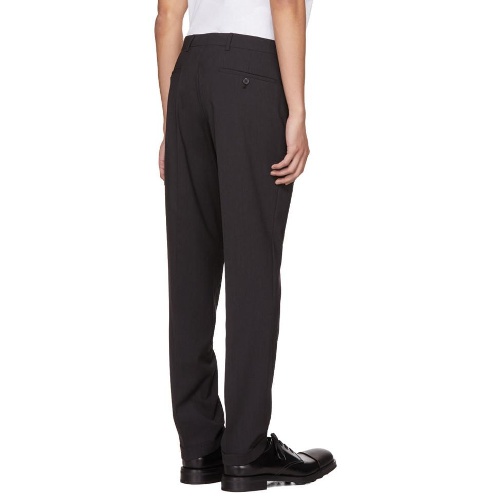 Prada Wool Grey Cuffed Trousers in Grey for Men