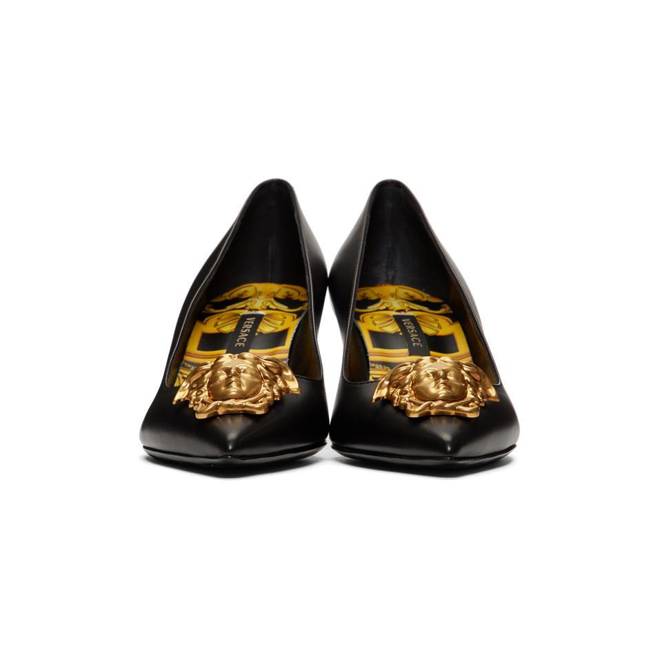 4810603bfac Versace - Metallic Black Tribute Medusa Heels - Lyst. View fullscreen