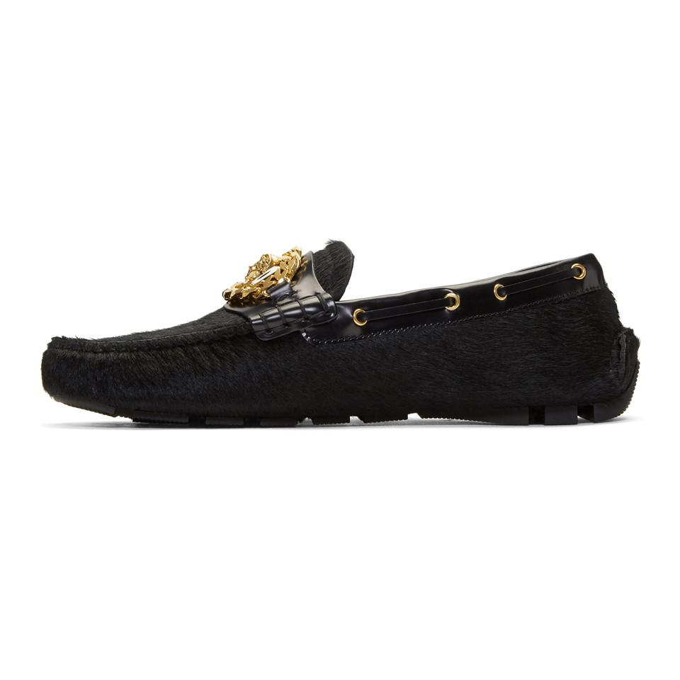 VERSACE Calf Hair Tribute Medusa Driver Loafers
