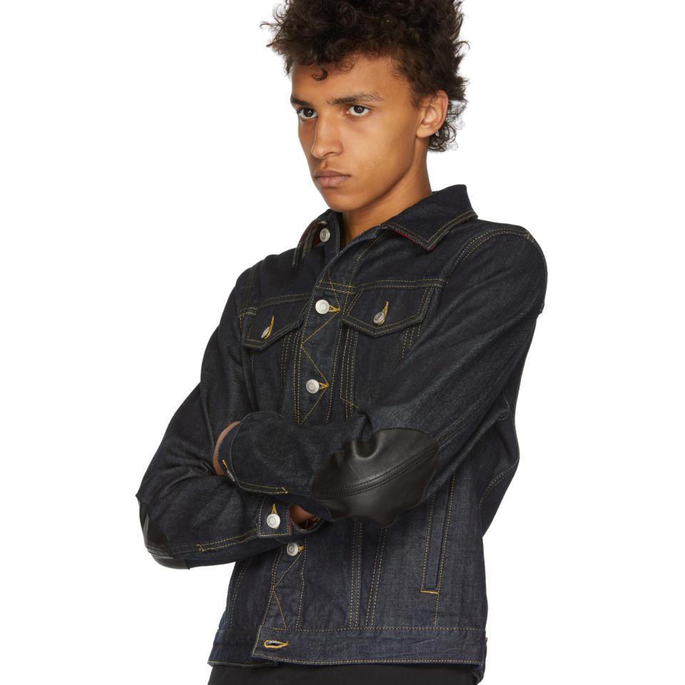 Alexander McQueen Indigo Denim Elbow Patch Jacket in Blue for Men