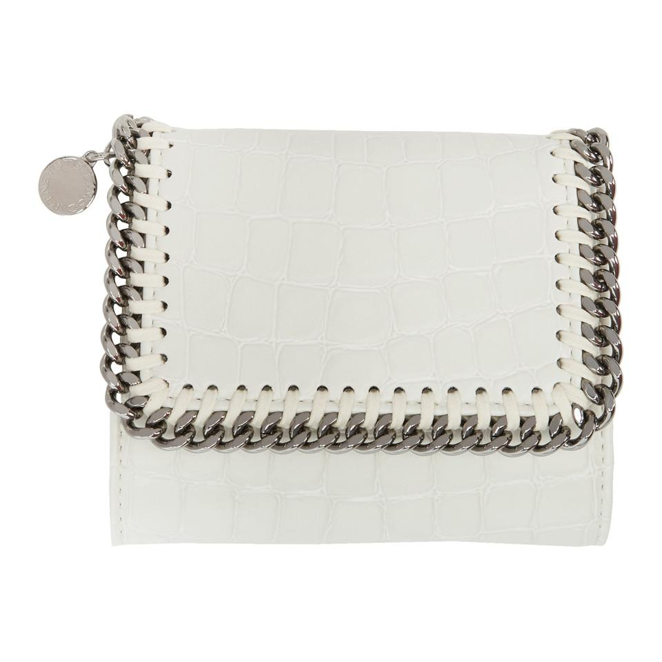 Ivory Alter Croc Falabella Small Flap Box Wallet Stella McCartney