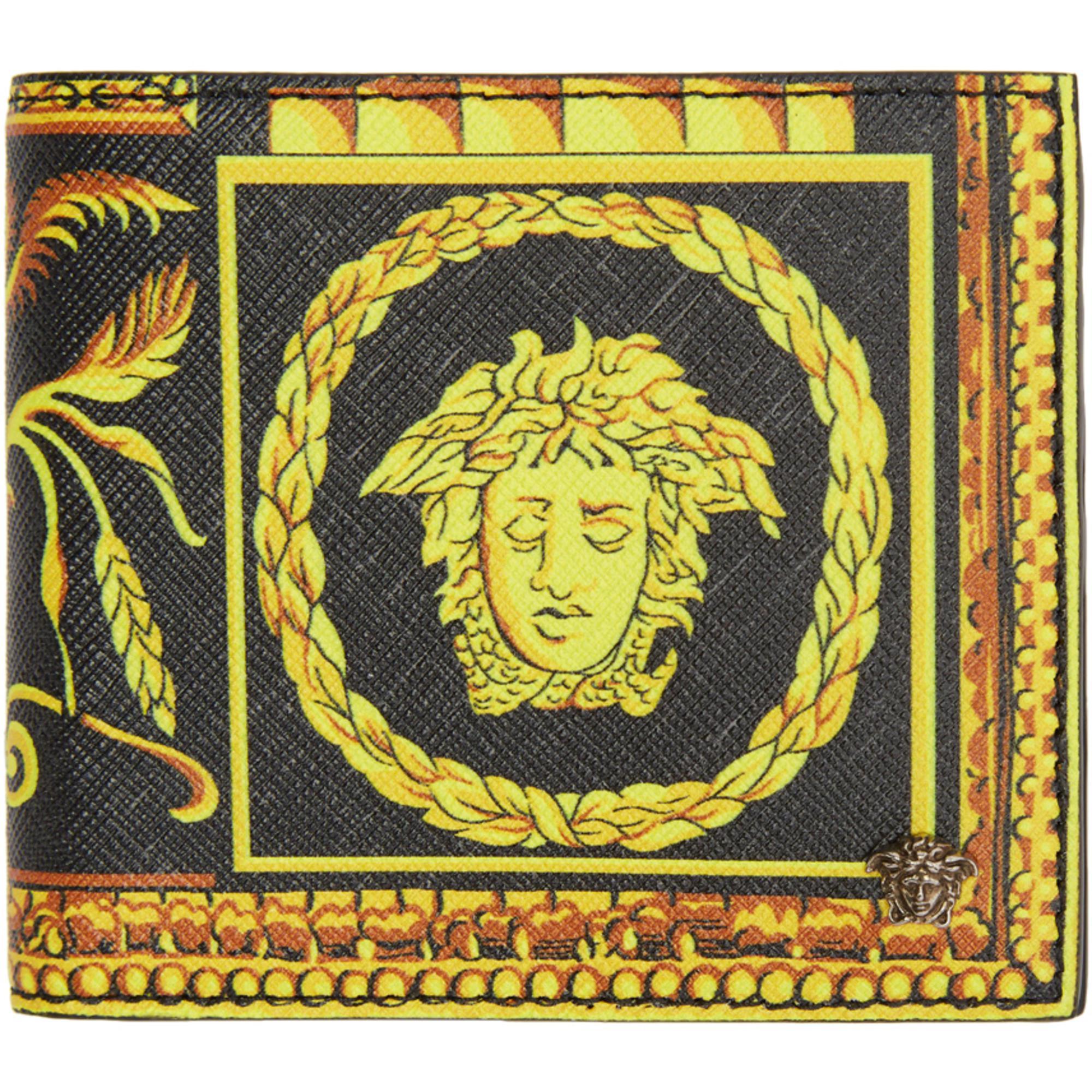 Lyst - Portefeuille noir Cornici Print Versace pour homme en coloris ... 19685855ce8