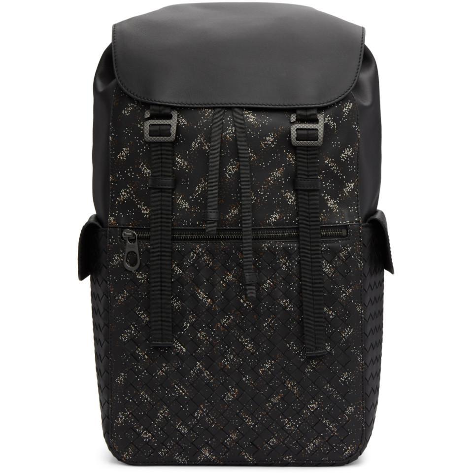 Lyst - Bottega Veneta Black Intrecciato Microdots Backpack in Black ... 68d6a257afb4b