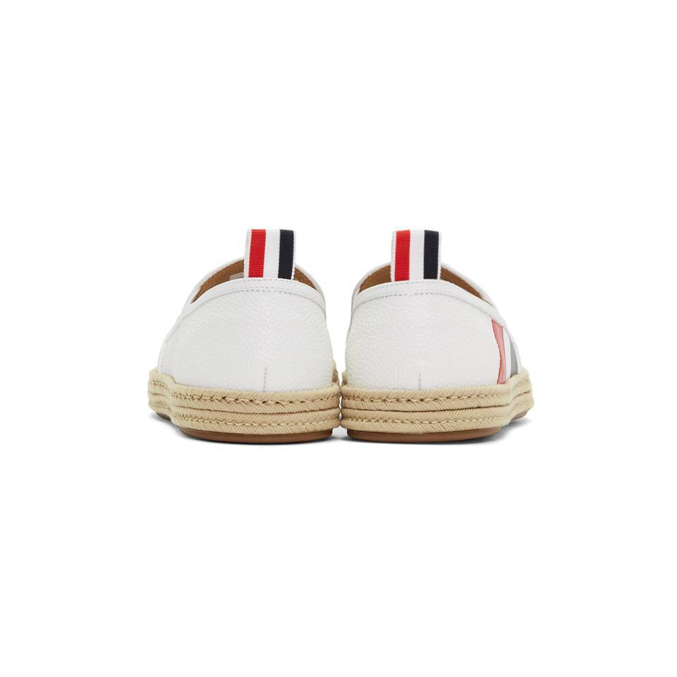 Thom Browne Leather White Diagonal Stripe Espadrilles for Men