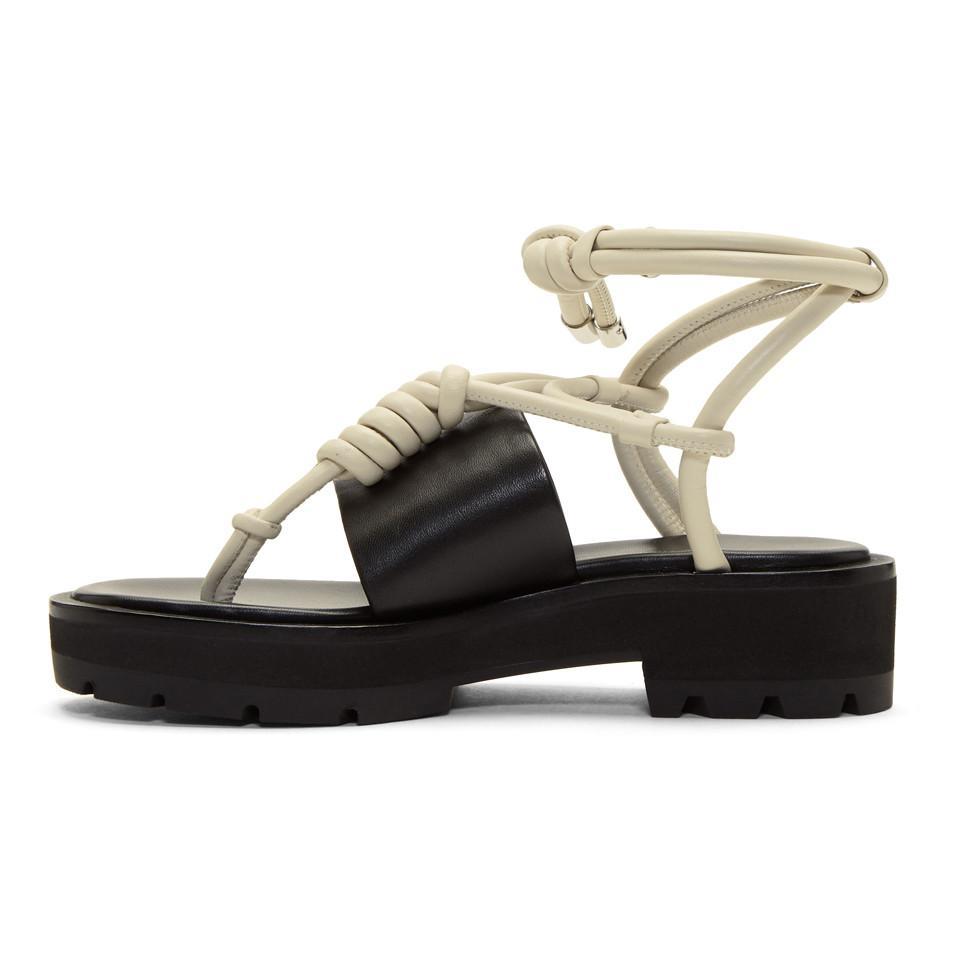 Read more Black & Ivory Strappy Lug Sole Sandals okMpW