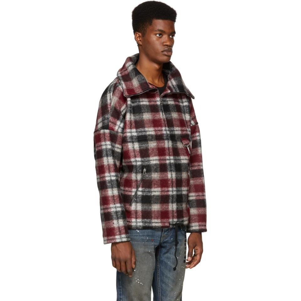 Reese Cooper Red Plaid Wool Anorak Jacket for Men