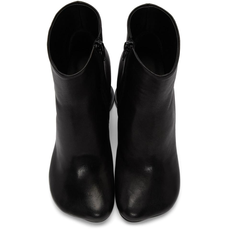 MM6 by Maison Martin Margiela Leather Black Cup Heel Boots