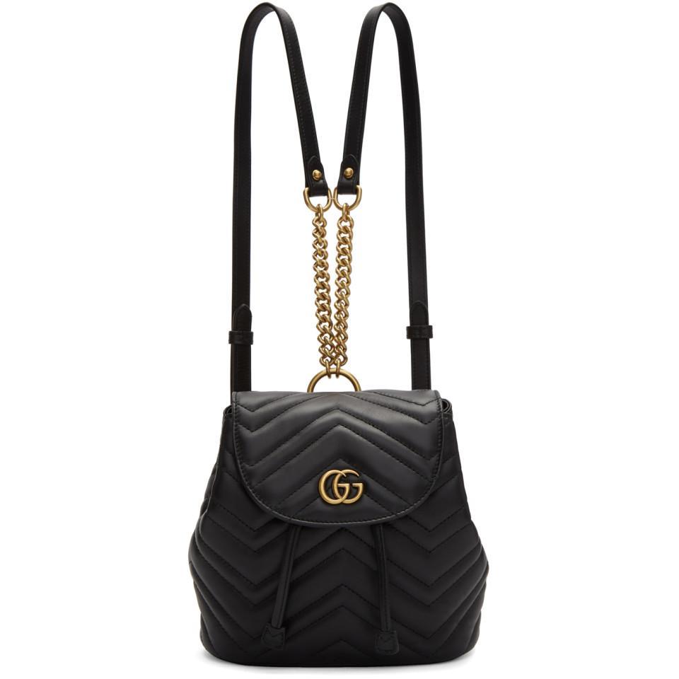Lyst - Gucci Black Mini GG Marmont 2.0 Backpack in Black 7ae5acfeb5b5e