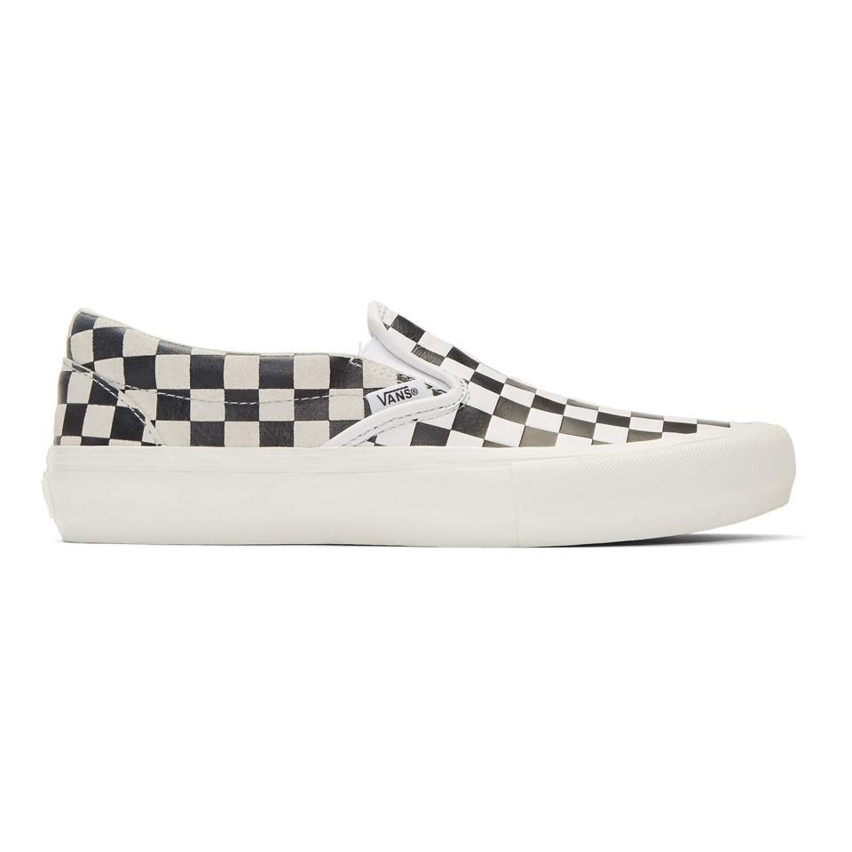 f726a12811 Vans. Black And White Engineered Garments Edition Embossed Checkerboard  Classic Slip-on Sneakers