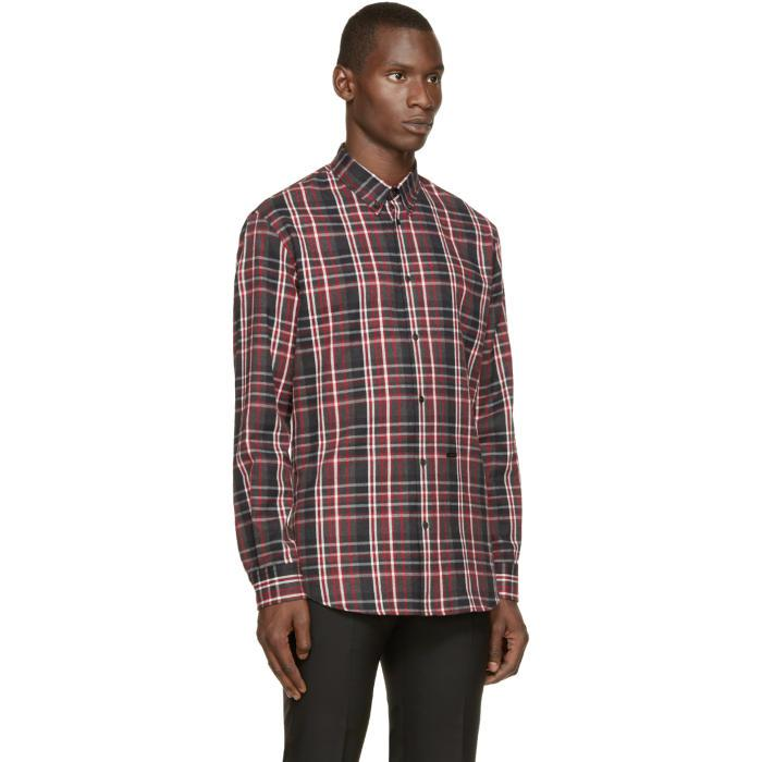 Lyst Dsquared Red Grey Flannel Check Shirt In Red For Men