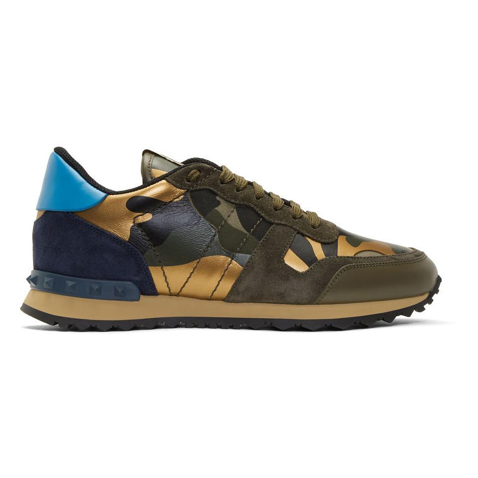Multicolor Valentino Garavani Camo Rockrunner Sneakers Valentino KMVAim7DC