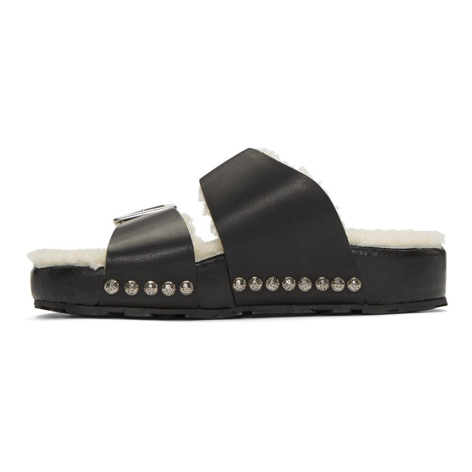 Alexander McQueen & Off- Shearling Strap Sandals Big Discount Cheap Online Online Cheap Pre Order Online Free Shipping Sho9l