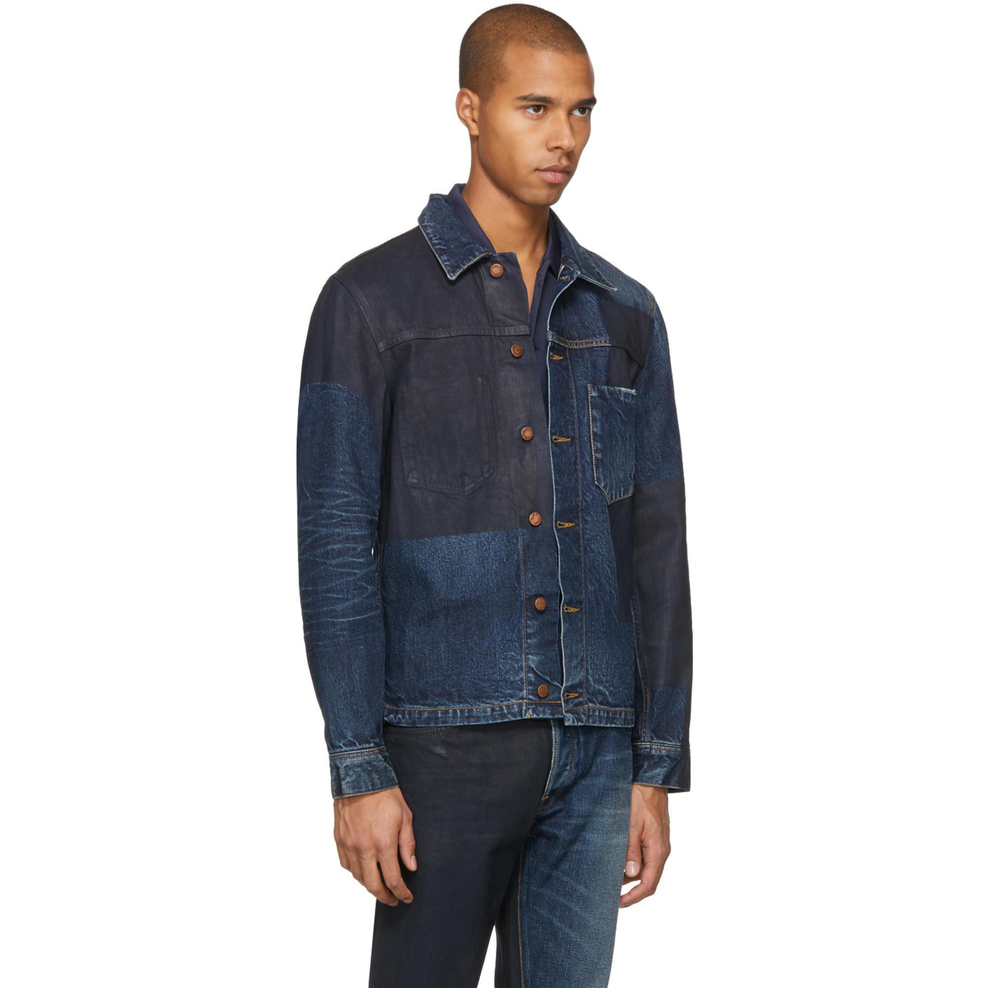 Nudie Jeans Ssense Exclusive Blue Painted Denim Ronny Jacket for Men