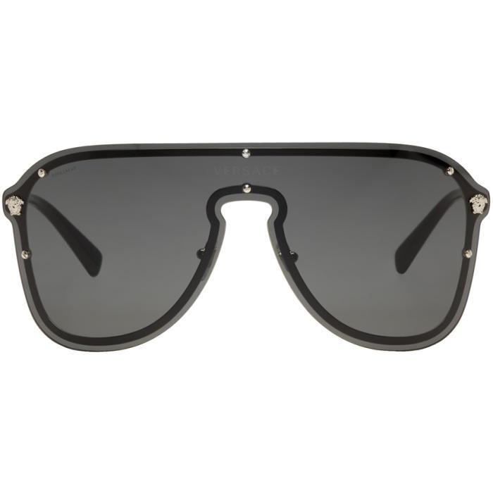 7c29f57164 Versace Black Frenergy Visor Sunglasses in Black - Lyst