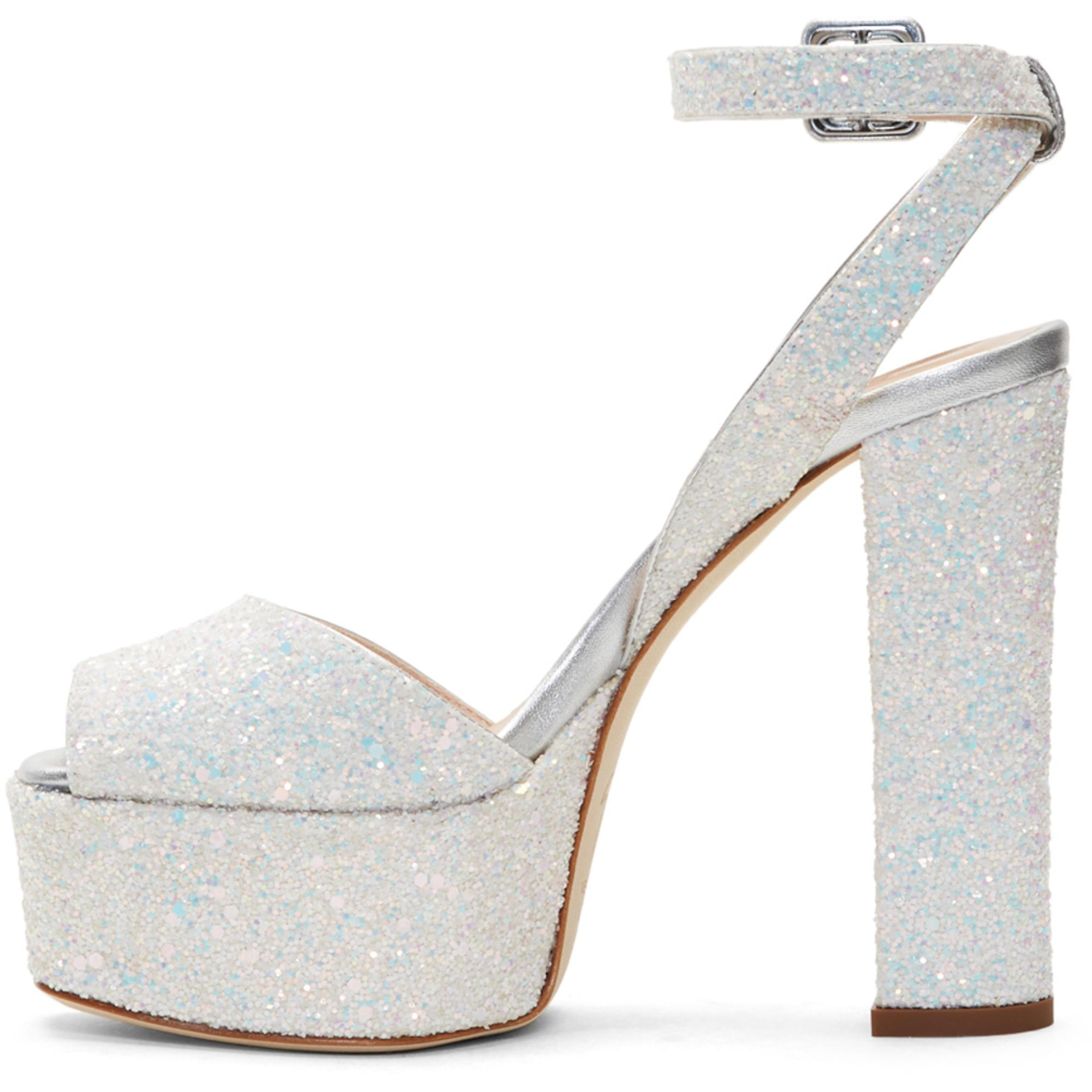 Giuseppe Zanotti White Glitter Lavinia Platform Sandals TkJecSJ